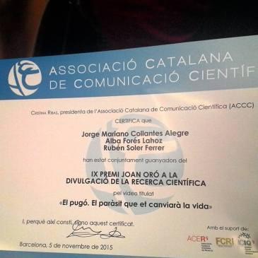 """Premi Joan Oró 2015 pel treball """"El pugó. El paràsit que et canviarà la vida"""""""